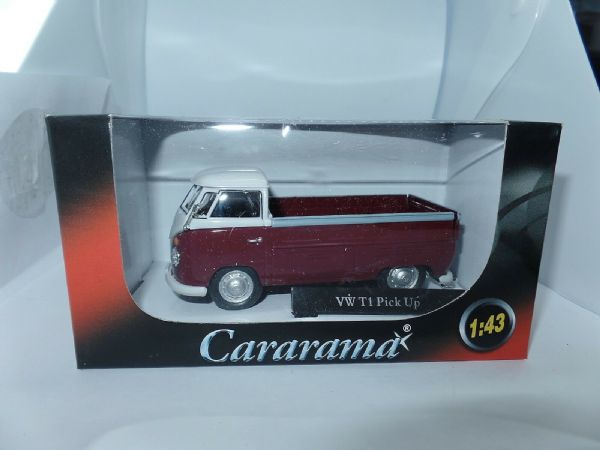 Cararama 1/43 O Scale Volkswagon VW Transporter T1 Pick Up Open Maroon White